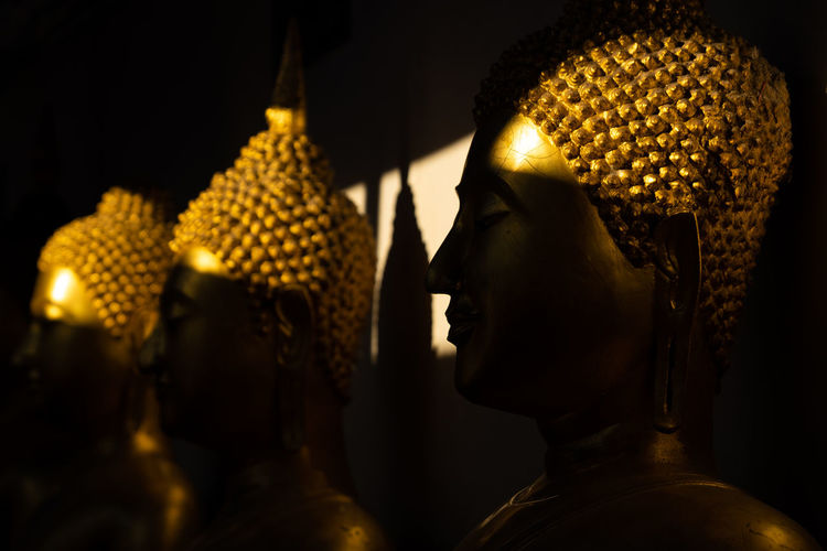 close up row of golden buddha statue in the light and shadow of sun at Wat Pra Sri Mahathat temple, Phitsanulok province, Thailand Shadow Buddha Buddhism Temple Gold Golden Light Sun Statue Human Representation Sculpture Religion Representation Male Likeness Art And Craft Spirituality Belief Indoors  Creativity Craft Gold Colored Place Of Worship Architecture Close-up No People Profile View Idol
