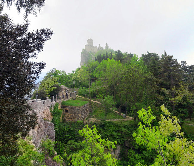 San Marino Architecture Building Castle Cityscape Europe Fog Green Color History Italy Landmark Medieval Mistic Monument Old Old Ruin Scenics The Past Tower Tranquility Travel Verdure Wall