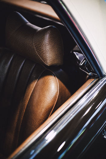 Close-up of vintage car seat