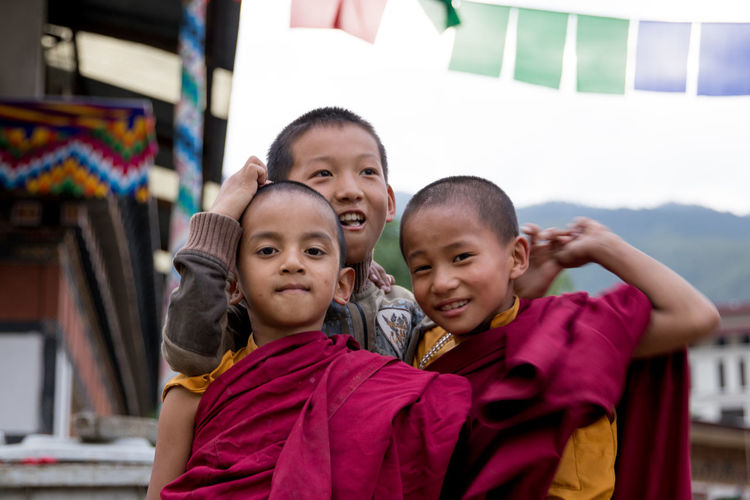 Asian  Buddha Himalayas Red Travel Travel Photography Bhutan Boys Buddhism Canon Canon_photos Canonphotography Childhood Happiness Kid Mountain Outdoors Photo Photography Real People Smiling Temple Three