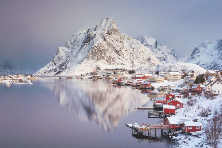 Sunrise at Reine EyeEm Best Shots EyeEm Nature Lover EyeEm Selects EyeEm Gallery EyeEmNewHere Landscape_Collection Travel Traveling Beauty In Nature Cold Temperature Eye4photography  Landscape Landscape_photography Mountain Mountain Range Nature No People Photography Reflection Snow Snowcapped Mountain Tranquility Travel Destinations Water Winter Shades Of Winter The Great Outdoors - 2018 EyeEm Awards