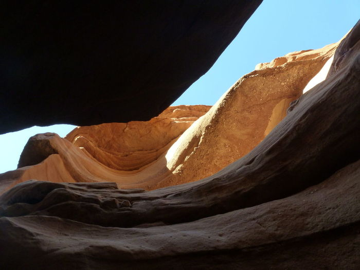 Low angle view of rock formation in desert