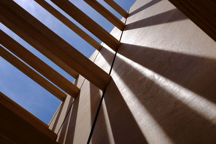 Architectural Detail Architectural Feature Architecture Built Structure Close-up Colorful Colors Construction Design Forms Geometric Shape Low Angle View Modern Part Of Shadows Shapes And Forms Sky Structure The Architect - 2016 EyeEm Awards Wood - Material
