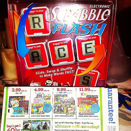 Scrabble flash only .99 at Toysrus priced at $3.99 use $3 off coupon from hasbrorewards.com Hasbro Rewards and Voilà Coupons Couponcommunity