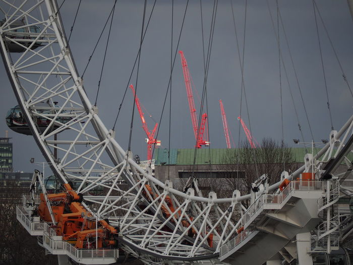 London London Eye Cranes Orange Is The New Black Orange Cityscape