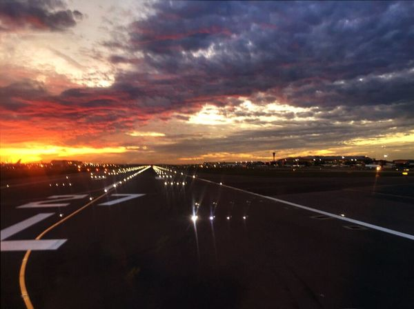 Sunset Road Transportation Cloud - Sky Sky The Way Forward No People Scenics Nature Outdoors Beauty In Nature Day Runway Avaition Take Off