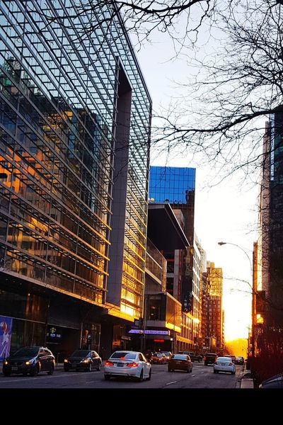 Driving into the sunset. Mirror Reflections Buildings Toronto Sunset The 6ix Late Winter Sunset Commuters Downtown Street Wellington  Architecture Built Structure Building Exterior Skyscraper City Car Urban Skyline Cityscape