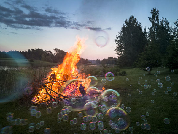 Campfire by lake in Estonia. Evening, landscape, nature. Soap bubbles. Beauty In Nature Bubbles Campfire Dark Darkness And Light Fire Flame Grass Heat Landscape Nature Nature No People Outdoors Sky Sky And Clouds Soap Bubbles Tree Water
