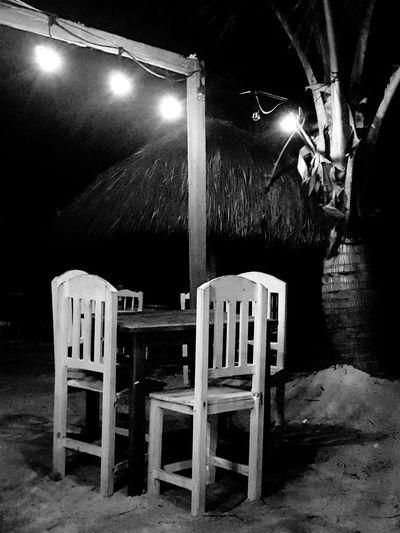 Cena romántica #Mahahual #Black&White #Dinner #mexico #beach Film Industry Illuminated Chair Arts Culture And Entertainment