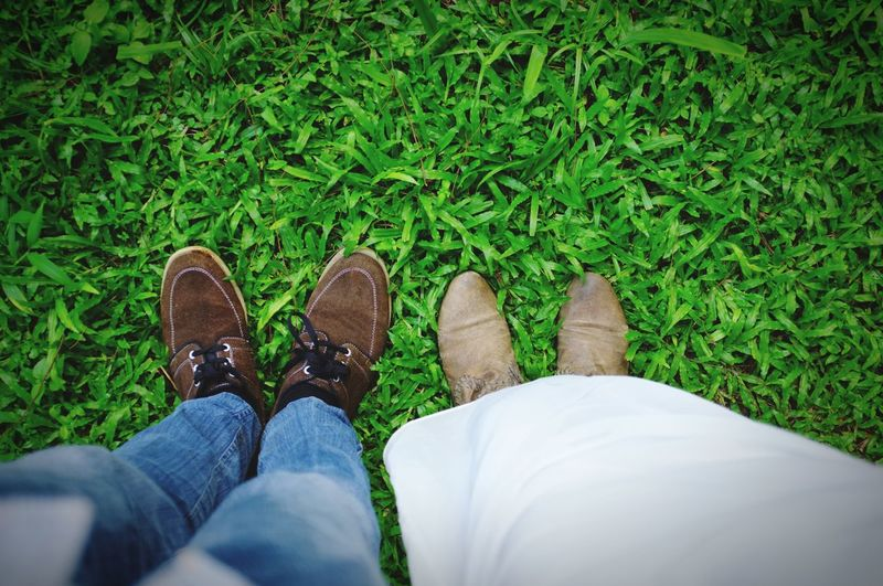 Couple of Shoes Low Section Grass Personal Perspective Human Leg Shoe Human Body Part One Person High Angle View Green Color Outdoors Real People Lifestyles Nature Standing Day People EyeEmNewHere