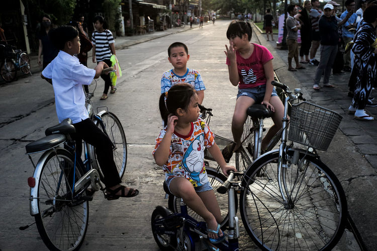 bikes that are too big for these kids Bicycle Cycling Kids Leisure Activity Togetherness Transportation Vietnam Vietnam Diary Young Adult