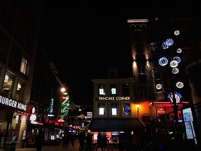 Night Illuminated Nightlife City Large Group Of People Architecture Building Exterior People Crowd Outdoors Amsterdam Leidseplein Food