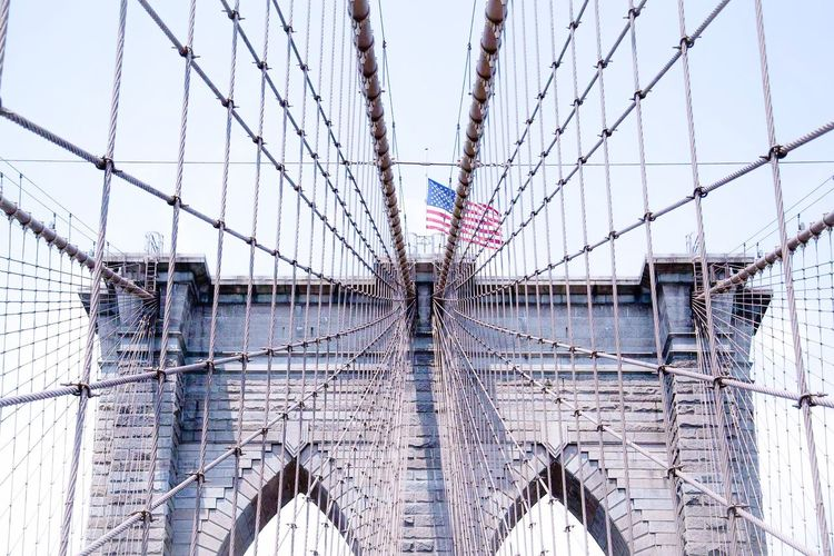 Brave enough to dream Built Structure Sky Architecture Suspension Bridge Connection Bridge - Man Made Structure Flag Engineering Building Exterior Outdoors Day Cable Patriotism No People Steel Cable New York USA USA FLAG Brooklyn Bridge / New York Minimalism Minimalobsession Travel Travel Destinations