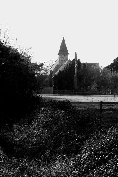 Warblington Church Over The Field Church Warblington Architecture Blackandwhite Building Building Exterior Built Structure Clear Sky Day Field Grass Growth History Land Landscape Nature No People Outdoors Plant Sky Tranquility Tree