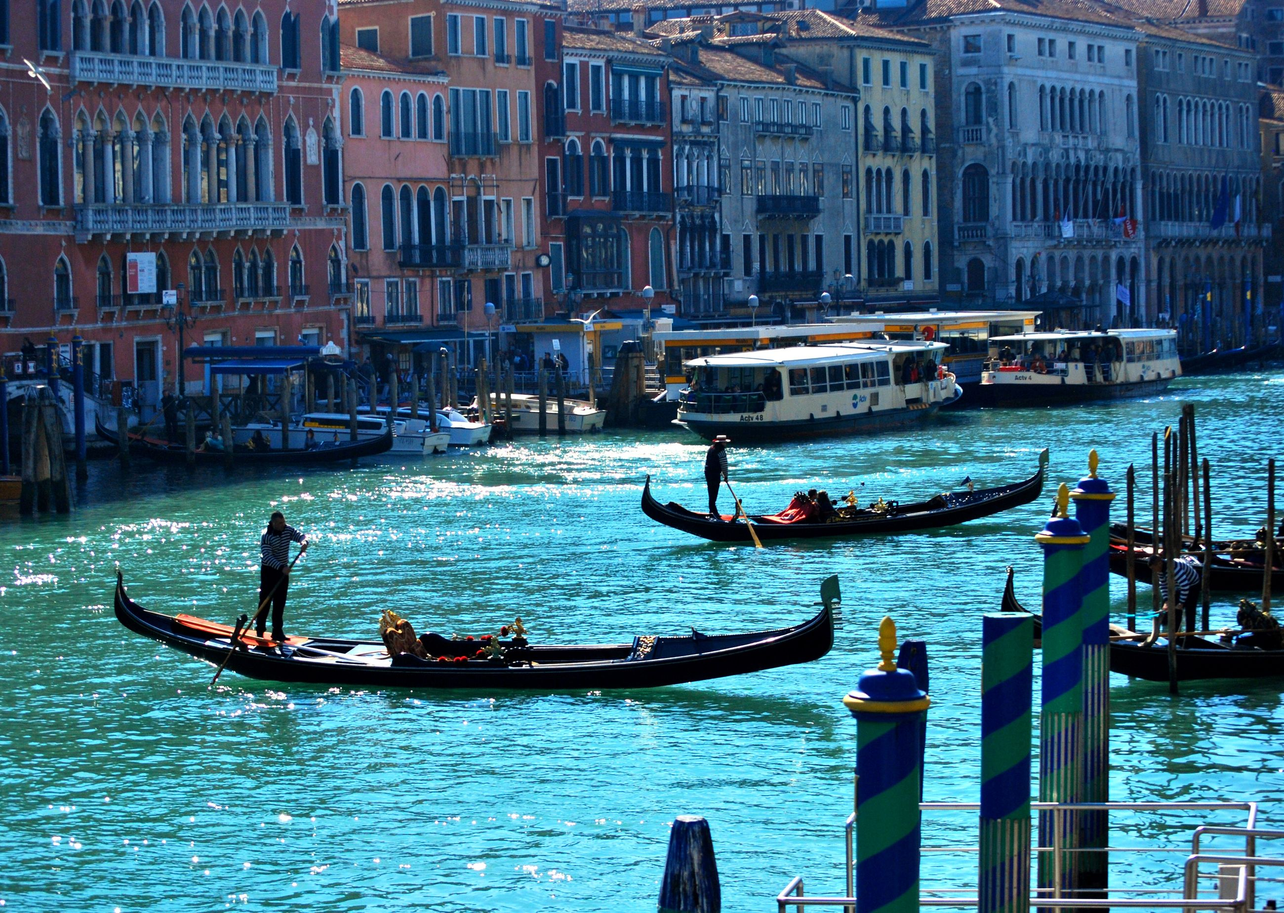 High angle view of gondolas on grand canal