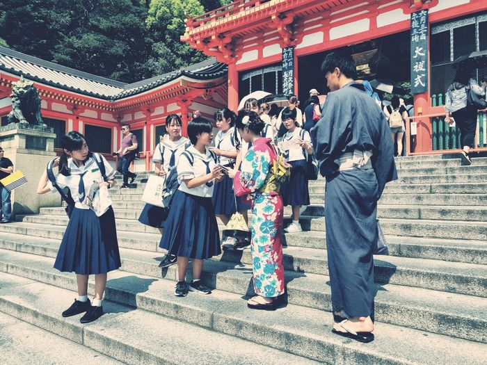 Kyoto Impression Japan Traditional Clothing Japanese Temple Shrine Of Japan Kyoto Spirituality Place Of Worship Religion Standing Cultures Ceremony Tradition