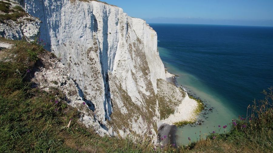 EyeEm Selects Sea Nature Water Beauty In Nature Scenics Tranquil Scene Horizon Over Water Tranquility Rock - Object Cliff Day Outdoors No People Beach Sky White Cliffs  Dover England, UK