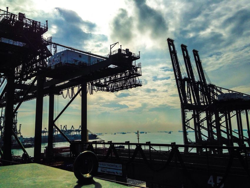 Singapore Crane Sky Iphone5C Container Beautiful Scenery Brani Terminal