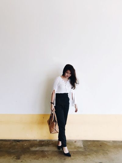 Ootd Full Length One Person Young Adult Copy Space Casual Clothing Young Women Real People Lifestyles Front View Leisure Activity Indoors  White Background Day Beautiful Woman People Standing