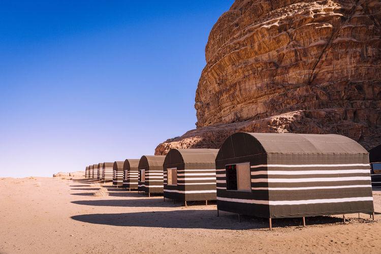 Bedouin tent camp in the desert of wadi rum, jordan