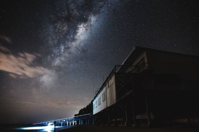 Night fishing underneath the milkyway. Met a ground of young guys doing night fishing---sand whiting they caught I guess. Fishing Night The Great Outdoors - 2016 EyeEm Awards Milkyway Boathouse Nightphotography By The Sea Australia Outdoor Activity Beach Landscape Landscape_Collection Point Leo Melbourne