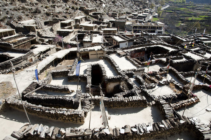 Marpha Village Himalayas Nepal Marpha Mountain Range Residential District Village