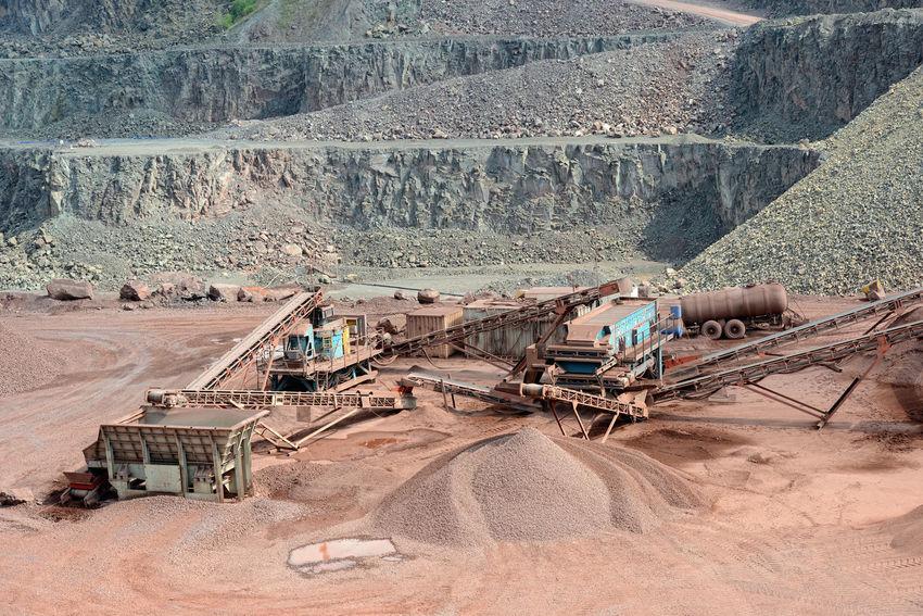 stone crusher machine in a quarry. open mine pit. mining industry Mine Steinbrecher Mining Industry Mining Quarry Stone Crusher Steinbruch Machinery Open Pit Mine Industry Conveyor Belt