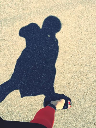 Summertime Long Shadows Summer Heat Walking Red Toes Shadow Girl