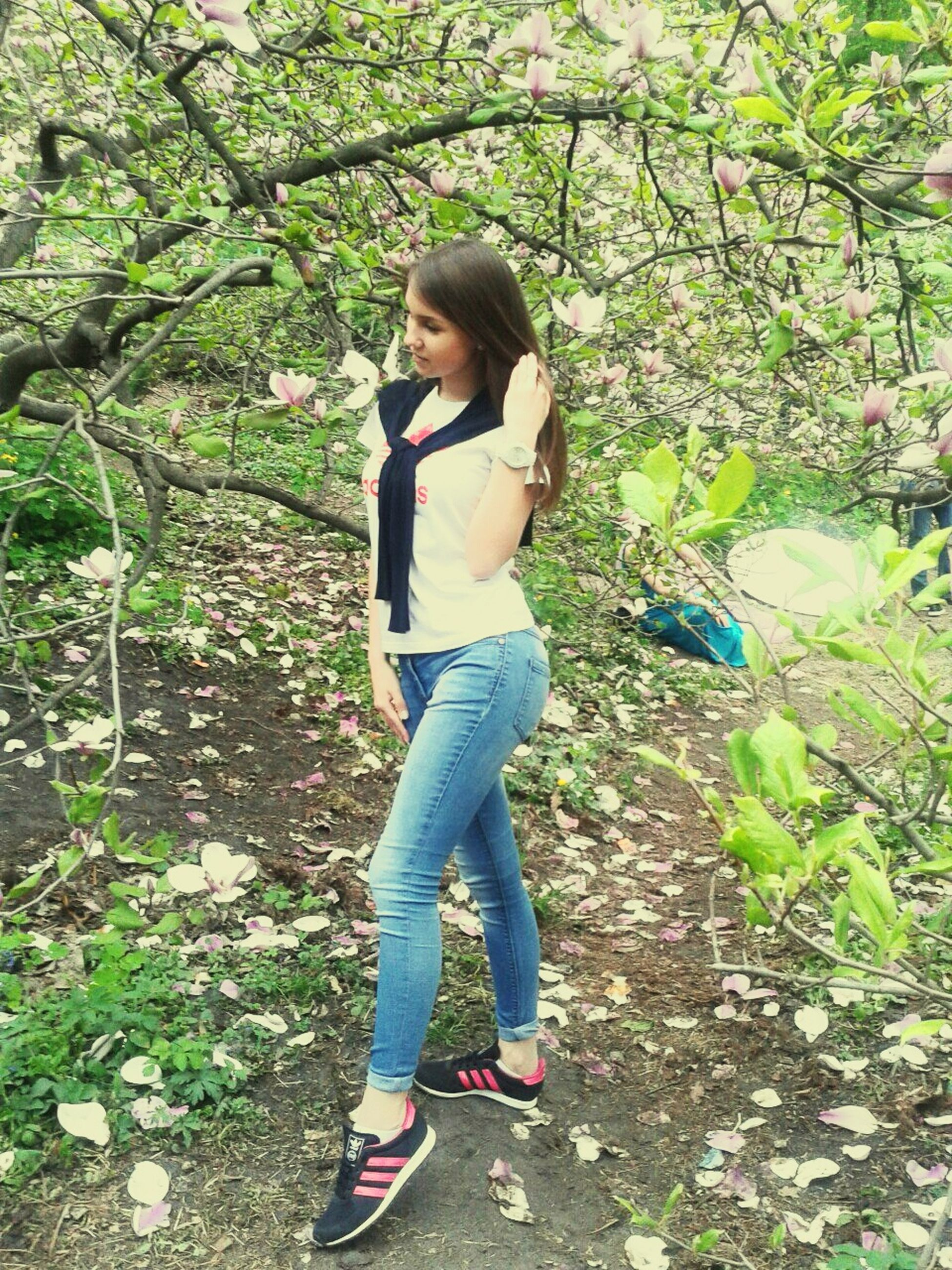 full length, casual clothing, lifestyles, leisure activity, tree, person, childhood, elementary age, standing, forest, boys, growth, plant, nature, young adult, day, park - man made space, girls