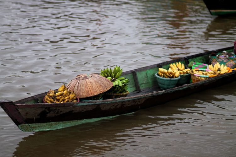 High angle view of food floating on river