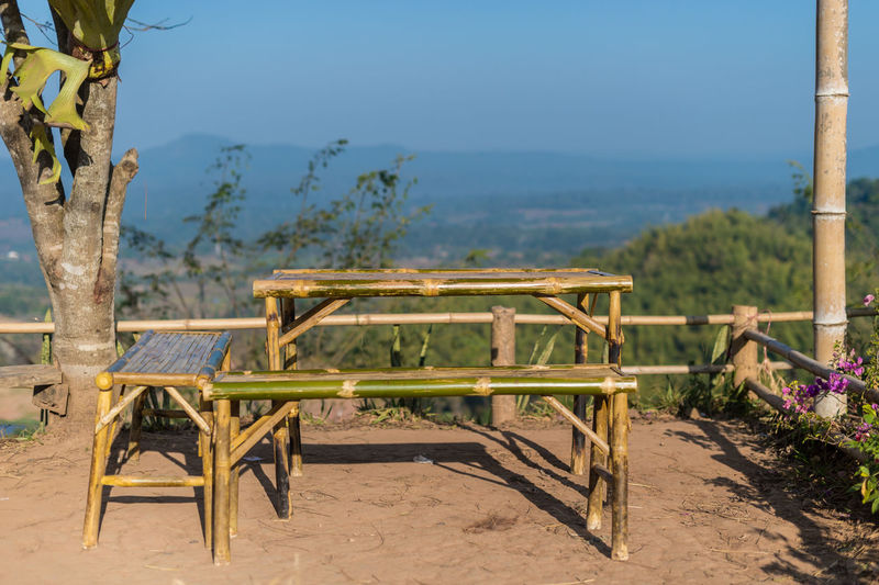 Plant Nature Seat Table Chair No People Tree Empty Beauty In Nature Absence Tranquility Day Sky Tranquil Scene Wood - Material Focus On Foreground Blue Scenics - Nature Land Landscape Outdoors