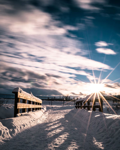 Long exposure of a snow covered bridge in Whitefish, Montana. Architecture Beach Beauty In Nature Day Nature No People Outdoors Scenics Sea Sky Sun Sunlight Sunset Vacations Water Winter