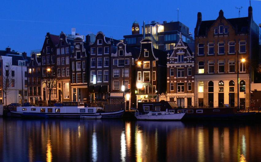 Amsterdam City Illuminated Ligth Netherlands Night Reflection Tourism Travel Destinations Waterfront