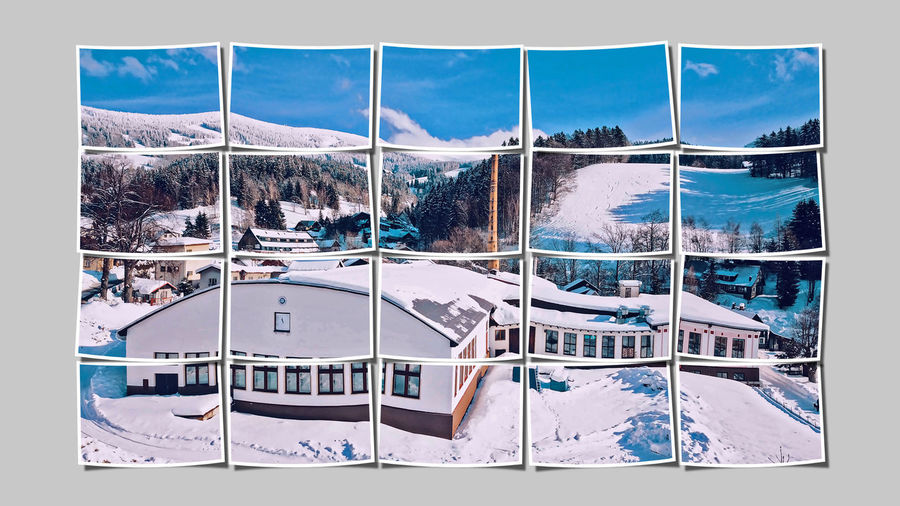 Snow Cold Temperature Nature Transfer Print No People Winter Architecture Auto Post Production Filter Sky Built Structure Day Building Building Exterior Cloud - Sky Outdoors Mountain Land Environment Beauty In Nature Digital Composite Rtk Rokytnice Nad Jizerou Lysa Hora