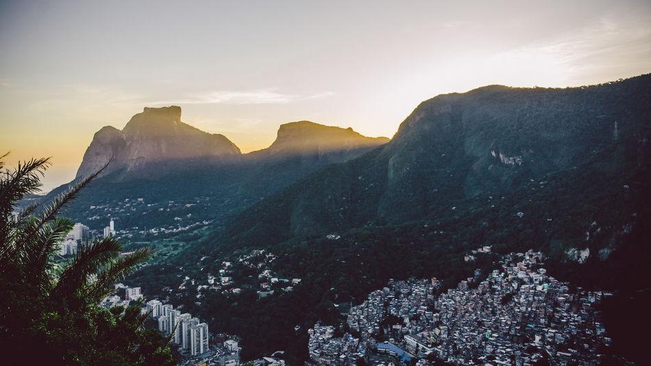 Rocinha Rocinha Favela Landscape Mountain Mountain Range Outdoors Scenics Sunlight Sunset Tranquil Scene Tranquility
