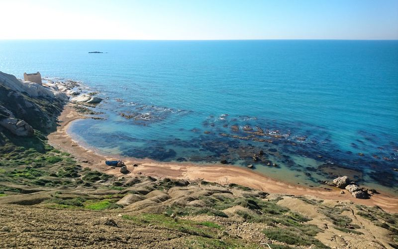 Sea Horizon Over Water Sky Outdoors Scenics Beauty In Nature Clear Sky Tranquility Vacations Sand Dune Water Silhouette Agrigento San Leone