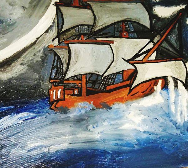Mary Celeste in Oil Roguedark Art Darkart Aesthetics Oilpainting Maryceleste Ghostships Lifeinoil Art And Craft Creativity Full Frame Backgrounds Textured  Day