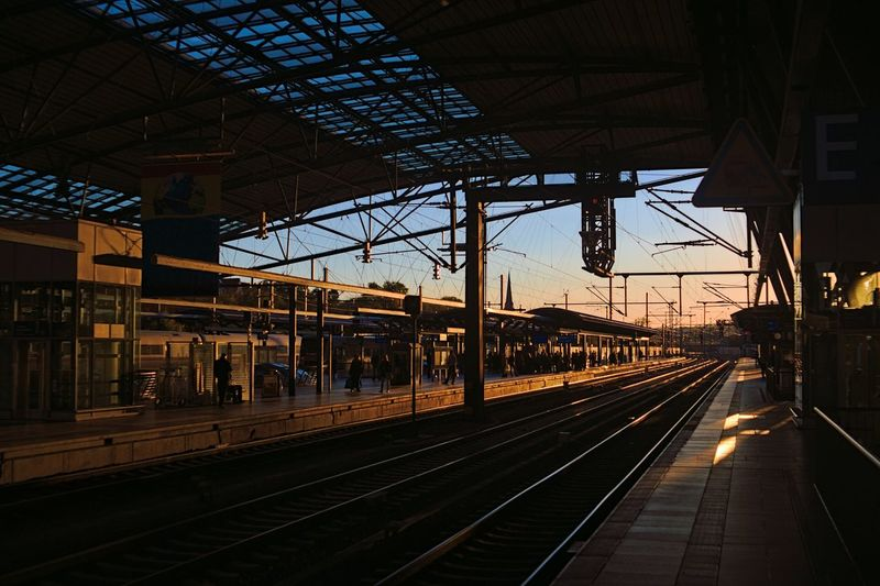 Railroad Station Platform At Sunset
