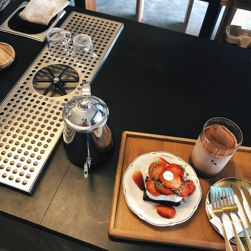 High angle view of breakfast on table in restaurant