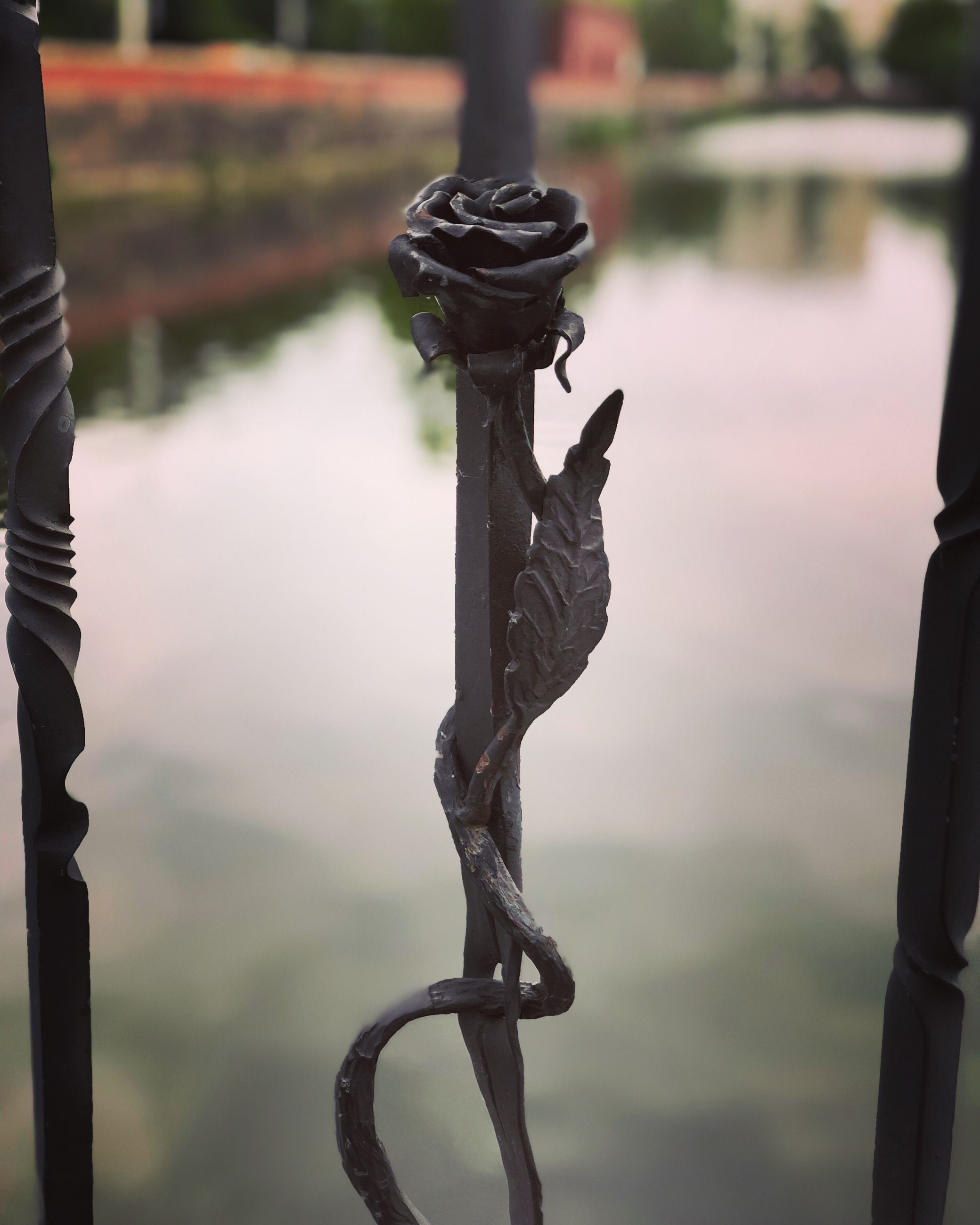 focus on foreground, no people, metal, water, day, close-up, nature, outdoors, security, lake, safety, protection, art and craft, sculpture, pattern, representation, tranquility, creativity, chain
