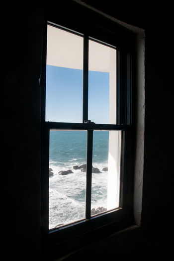 Point Arena Lightouse Window Architecture Close-up Day Indoors  Looking Through Window Nature No People Ocean Prison Sea Security Bar Sky Water Waves Through Window Window Window Sill