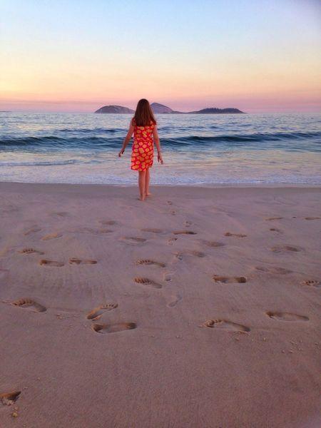 Beach Sea Candidchildhood Sunset