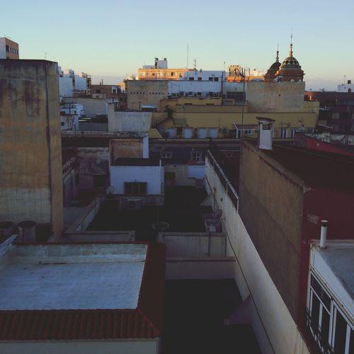 Sunrise on roofs Toit Ville Lever De Soleil Almería Espagne Andalousie City Cityscape Sky Architecture
