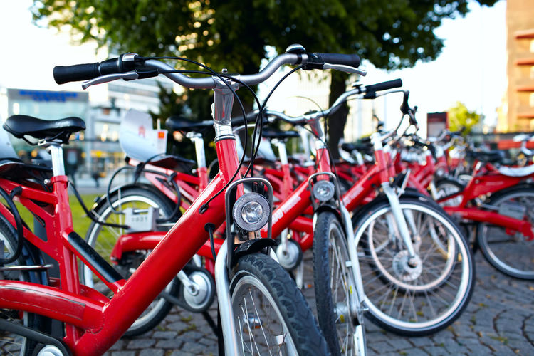 Aligned Bicycle Bike Bycicles Aligned Cycle Day Hamburg Handlebars Metal No People Nobody Outdoors Park Parking Seat Spring Stock Photos Street Sunlight Transportation Transportation Tricycle