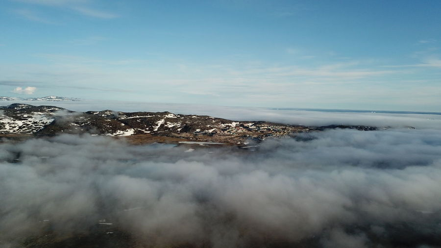 The fog suddenly rolled in, while I flew with my drone. Drone  EyeEm Best Shots EyeEm Best Shots - Nature From My Point Of View Ilulissat The Real Greenland This Is Greenland Drone Photography Dronephotography Fog Foggy Over The Clouds