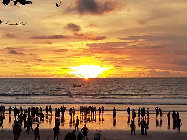 Sunset, kuta beach. Silhouette