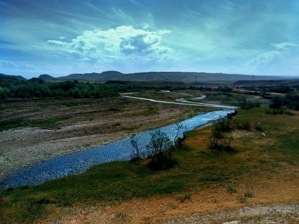 Landscape Mountain Nature Beauty In Nature Water Rural Scene Sky Day Outdoors No People Tranquility River Clear Sky Blue Dagestan LeTv X600 LeEco