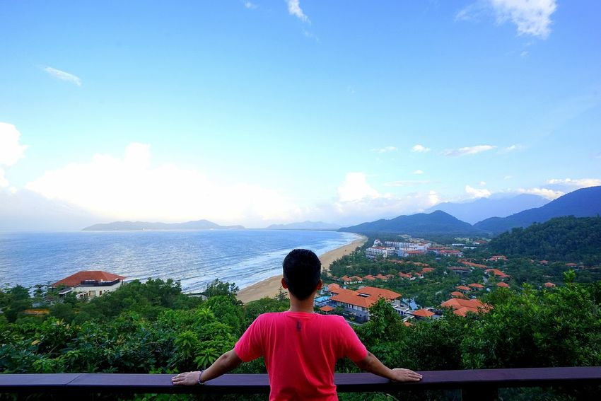 Da Nang, Vietnam. By Canon 7D Da Nang, Vietnam Adult Beauty In Nature Day Leisure Activity Lifestyles Looking At View Mountain Nature One Person Outdoors People Real People Rear View Scenics Sea Sitting Sky Tranquil Scene Tranquility Tree Water Women Young Adult