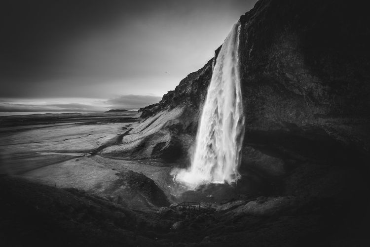 Amazing Beautiful Black And White Black And White Photography Iceland Landscape View Wallpaper Water Waterfall