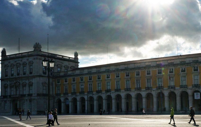 Praça Do Comércio, Lisboa Architectural Column Architecture Building Exterior Built Structure City Cloud - Sky Day Outdoors Real People Sky Sunlight Travel Destinations Women